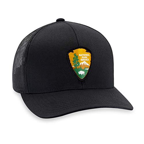 National Park Service Hat - Black Trucker Mesh Adjustable Snapback Baseball Cap by Haka Hat