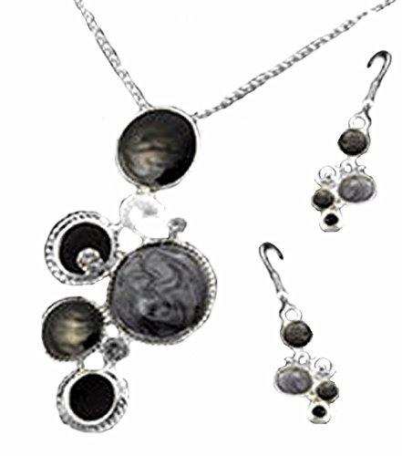 parure collier et boucles cercles gris et noir émail métal argenté