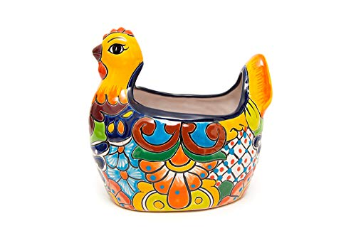 Enchanted Talavera Mexican Pottery Chicken Hen Flower Pot Ceramic Plant Pot Planter Indoor Outdoor Use Flower Vase…