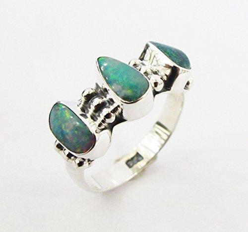 Sterling Australian Opal Doublet - 925 sterling silver ring with 3 doublet australian opal stone, opal ring, genuine opal ring size 8