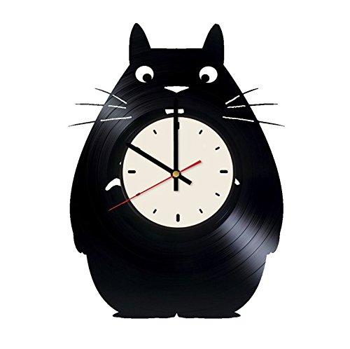 Totoro Vinyl Record Wall Clock Studio Ghibli Clock Gift idea for Birthday, Christmas, Women, Men, Friends, Girlfriend Boyfriend and Teens - Living Kids Room Nursery