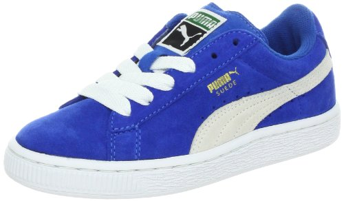 PUMA unisex-child Suede Junior Sneaker , Snorkel Blue/White, 7 M US Big Kid (Boys Sneakers Size 7)