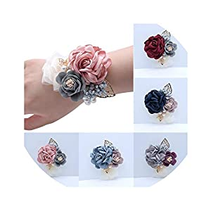 Prom Cloth Rose Flower Party Wrist Flower Wedding Boutonnieres Hot Pink Bridesmaid Corsage Hand Flowers for Marriage Accessories 36