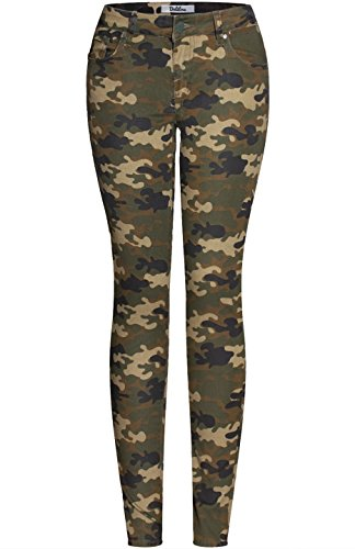 2LUV Women's Trendy Distressed 5 Pocket Denim Skinny Jeans Camo Olive Camo - Denim Camo