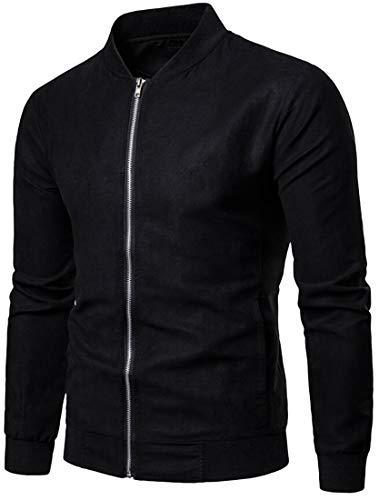 ARTFFEL Mens Plus Size Warm Zip Front Suede Fabric Casual Mandarin Collar Jacket Coat Black S