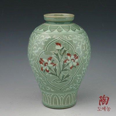(Korean Celadon Glaze Semi-round Inlaid Copper Paint Lotus Flower Inlay Design Green Decorative Porcelain Ceramic Pottery Home Decor Accent Vase)