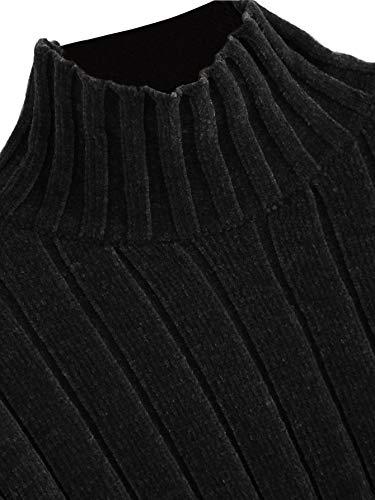 e5a4d8ce6531 SheIn Women's High Neck Drop Shoulder Raw Hem Crop Sweater Pullovers
