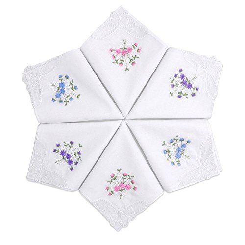 Selected Hanky Ladies/Women's Cotton Handkerchief Floral Embroidered with Lace - Box Packing