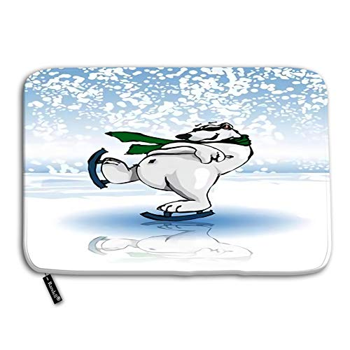 Decorative Floor Mat with Non-Skid Backing Polar Bear ice Skating on Winter Rink in Festive Season Snow Doormat Entrance Floor Mat Rug Indoor 24