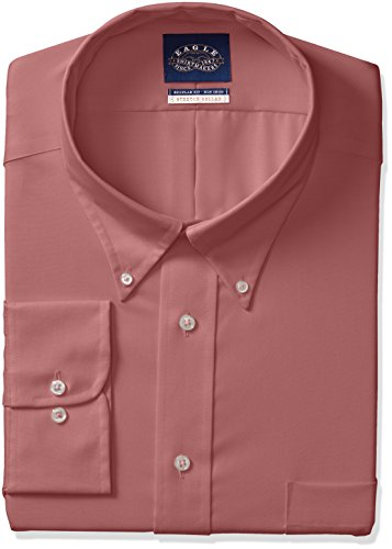 Eagle Men's Non Iron Stretch Collar Regular Fit Solid Dress Shirt, Bordeaux, 17.5