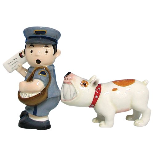 LOVATIC  Mwah Magnetic Mailman and Dog Salt and Pepper Shaker Set, 3-3/4-Inch