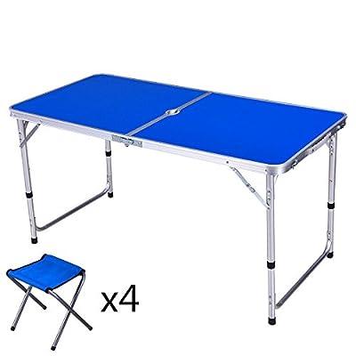 Xing Lin Table Pliable Le Président De La Table De Pique-Nique En Plein Air, Table Et Chaise Pliante En Alliage D'Aluminium Peut Accueillir Voyage Multi-Fonction D'Activités De Plein Air 120*60*60Cm, Double P&oc