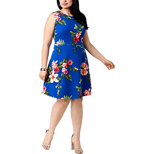 - Jessica Howard Womens Plus Floral Sleeveless Casual Dress Blue 18W