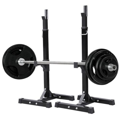 Pair of Adjustable Standard Solid Steel Squat Stands Barbell Free Press Bench by youzee