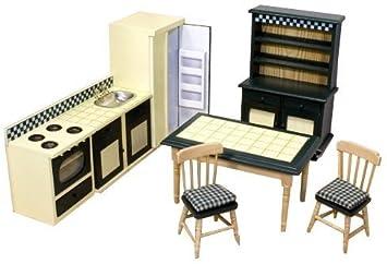 melissa doug classic wooden doll s house kitchen furniture 7 pcs rh amazon co uk