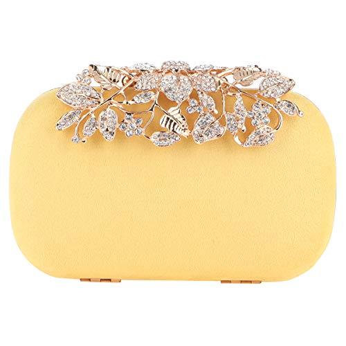 Fawziya Flower Purses With Rhinestones Crystal Evening Clutch Bags-Yellow