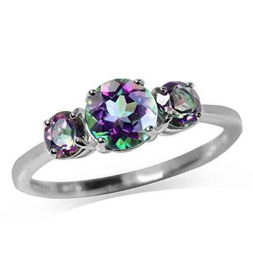 1.71ct. 3-Stone Mystic Fire Topaz 925 Sterling Silver Ring Size 7 ()