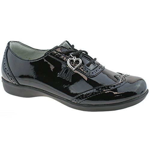 Lelli Kelly LK8281 (DB01) Kimberly Black Patent Brogue School Shoes F Width-31 (UK 12.5)