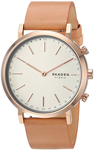 Skagen Women's Hald Stainless Steel and Leather Hybrid Smartwatch, Color: Rose Gold-Tone, Tan SKT1204 (Links Skagen Ladies Classic)