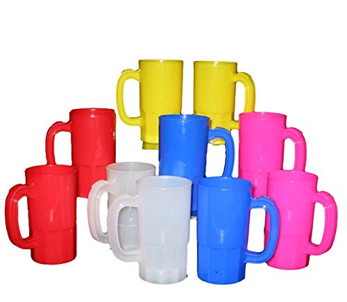 Talisman, Small Plastic Mug, 14 Ounces, Lot 10, 2 each Pink, Clear, Yellow, Red and ()