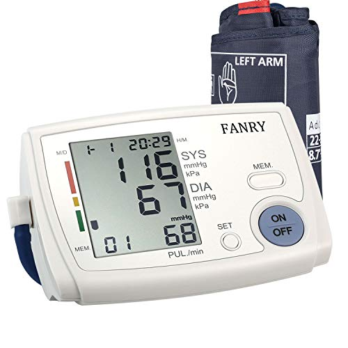 - FANRY Automatic Blood Pressure Monitor Accurate Blood Pressure Cuff Upper Arm for 8.7''-12.6'' Arms with CE Approved, Batteries Included