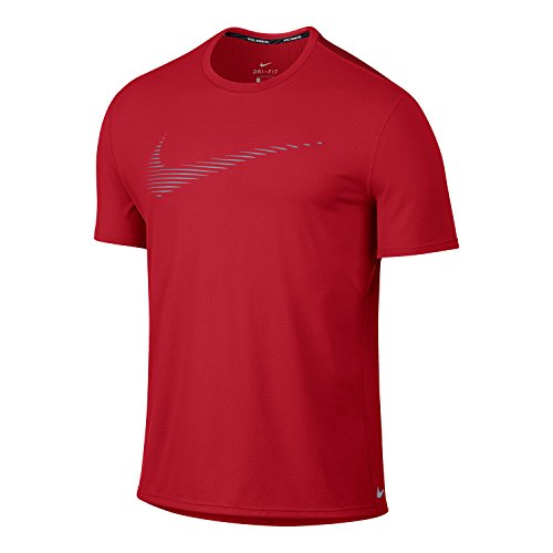 Nike Men`s Dry Contour Short Sleeve Running Top (Medium, University Red (657) / Reflective Silver)