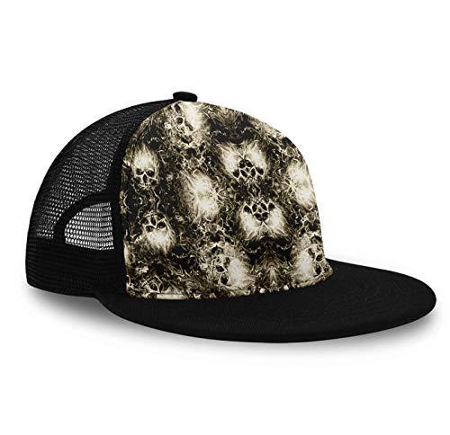 Trucker Hat Snapback Hat Mesh Baseball Hats, Summer Cap Sun Hats for Boys Girls - Flaming Clouds Skulls