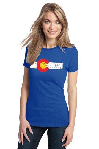 Colorado State Flag Distressed Ladies T Shirt   Vintage Look Co Denver Tee  Ladies  S