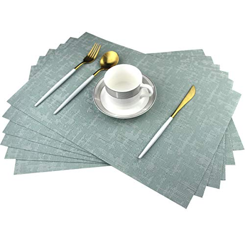 Bright Dream Placemats for Dinner Table Wipeable PVC Placemats Plastic Wicker Placemats Set of 6Mint Green