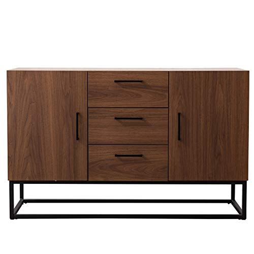 CANMOV Modern Sideboard Storage Cabinet,Buffet Table Kitchen Storage with Three Storage Drawers Two Cabinets,Brown