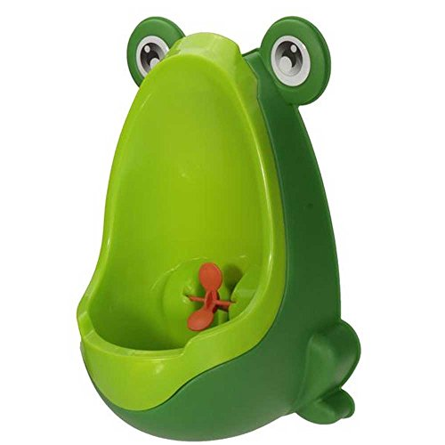 Lovely Frog Children Kids Potty Removable Toilet Training Kids Urinal Early Learning Boys Pee Trainer Bathroom (Deep Green)