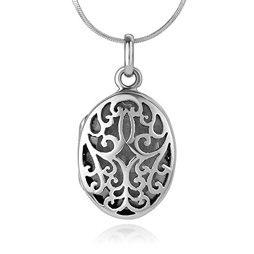 Chuvora 925 Oxidized Sterling Silver Open Filigree Detailed Oval Shaped Locket Pendant Necklace, 18 inches ()