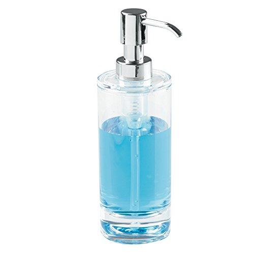 InterDesign Eva Soap Pump Dispenser for Bathroom Countertop or Kitchen Sink - Pack of 2, Clear/Chrome