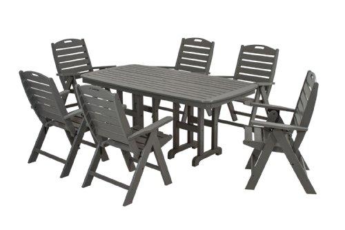 POLYWOOD PWS125-1-GY Nautical 7-Piece Dining Set, Slate Grey