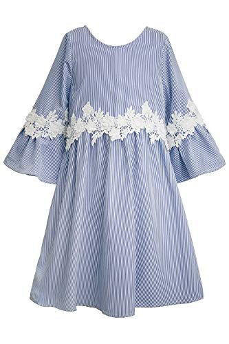 (Truly Me, Big Girls' Designer Babydoll Dress with Flower Crochet Trim, Ruffle Detail, and Bell Sleeves, Size 7-16 (Blue Stripe, 16))