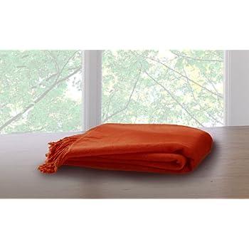 Marcini Bamboo Fiber Cotton Throw Blanket - Orange