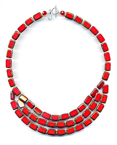 Beaded Necklace 3 Strand - 3-Strand Beaded Necklace in Red, 19