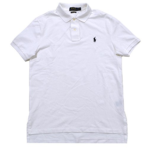 Polo Ralph Lauren Mens Classic Fit Pima Stretch Mesh Polo Shirt (L, White) (Shirt Mesh Polo Pima)