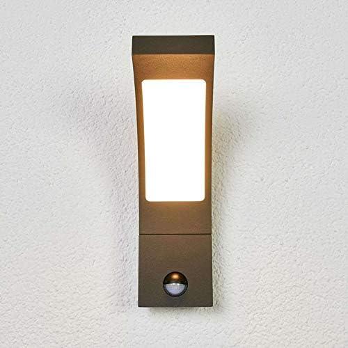 Lucande LED Wandleuchte außen \'Juvia\' mit Bewegungsmelder (spritzwassergeschützt) (Modern) in Schwarz aus Aluminium (1 flammig, A+, inkl. Leuchtmittel) - Außenlampe, Wandlampe für Outdoor & Garten