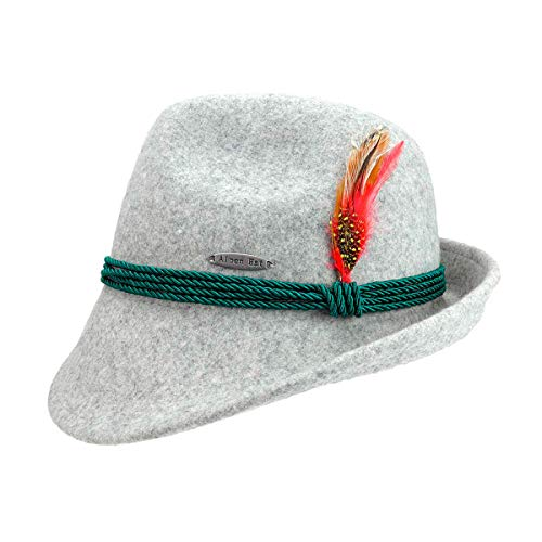 Austrian & German Style Gray Alpine Tyrolean Wool Hat with Feather & Rope by E.H.G. |Large