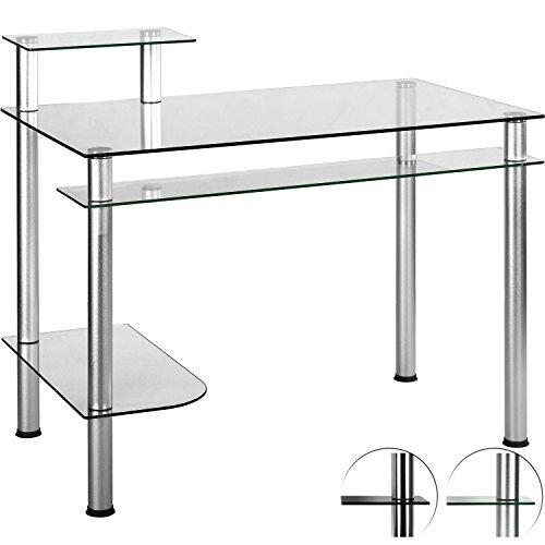 STILISTA® Glas Computertisch, Varianten: Klarglas und Schwarzglas, 108cm x 62cm x 93cm, 8 mm Sicherheitsglas, Aluminium Tubes, 4 Ebenen
