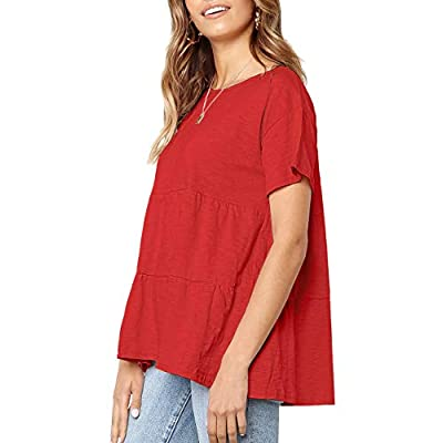 Womens Short Sleeve Casual Loose Blouse High Low Hem Ruffle Peplum T Shirt Tops at  Women's Clothing store