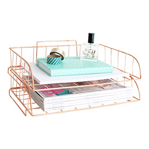 - Blu Monaco Rose Gold Desk Organizer Stackable Paper Tray Set of 2 - Metal Wire Two Tier Tray - Stackable Letter Tray - Inbox Tray for Desk