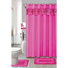 Hot Pink 18-piece Bathroom Set: 2-rugs/mats, 1-fabric Shower Curtain, 12-fabric Covered Rings, 3-pc. Decorative Towel Set