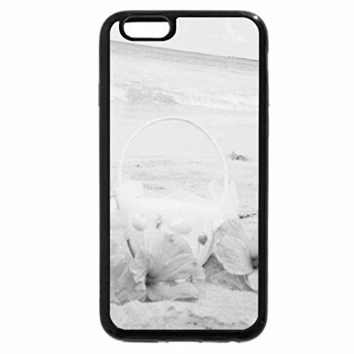 iPhone 6S Case, iPhone 6 Case (Black & White) - flower basket on the beach