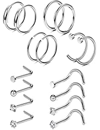 9-84 Pcs 20G Nose Rings Hoops Stainless Steel Screw Stud Rings Piercing Jewelry CZ Inlaid