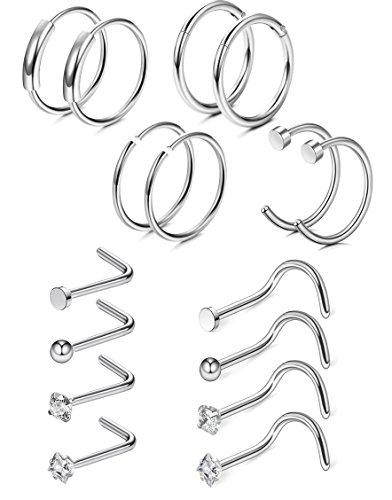 FIBO STEEL 9-84 Pcs 20G Nose Rings Hoops Stainless Steel Screw Stud Rings Piercing Jewelry CZ Inlaid