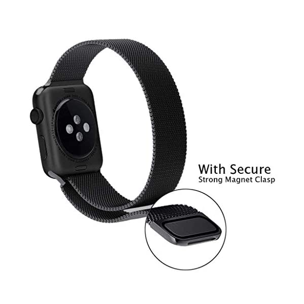 41dBLZDFMNL Priefy Loop Strap Stainless Steel Milanese with Magnetic Lock Buckle Compatible with iWatch Series 4 and 5 {44mm Black}
