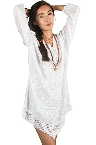 Hippie Tunic Blouse - Tribe Azure White Floral Embroidered 100% Cotton Dress T-Shirt Tunic Boho Hippie Bohemian Summer Beach Short Casual Fashion Women Shift Loose Blouse V Neck Lace (Large)