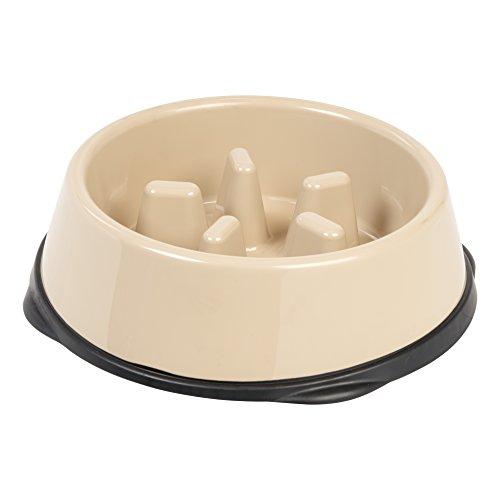 IRIS Large Slow Feeding Bowl for Long Snouted Pets, Beige/Black (Long Snout)